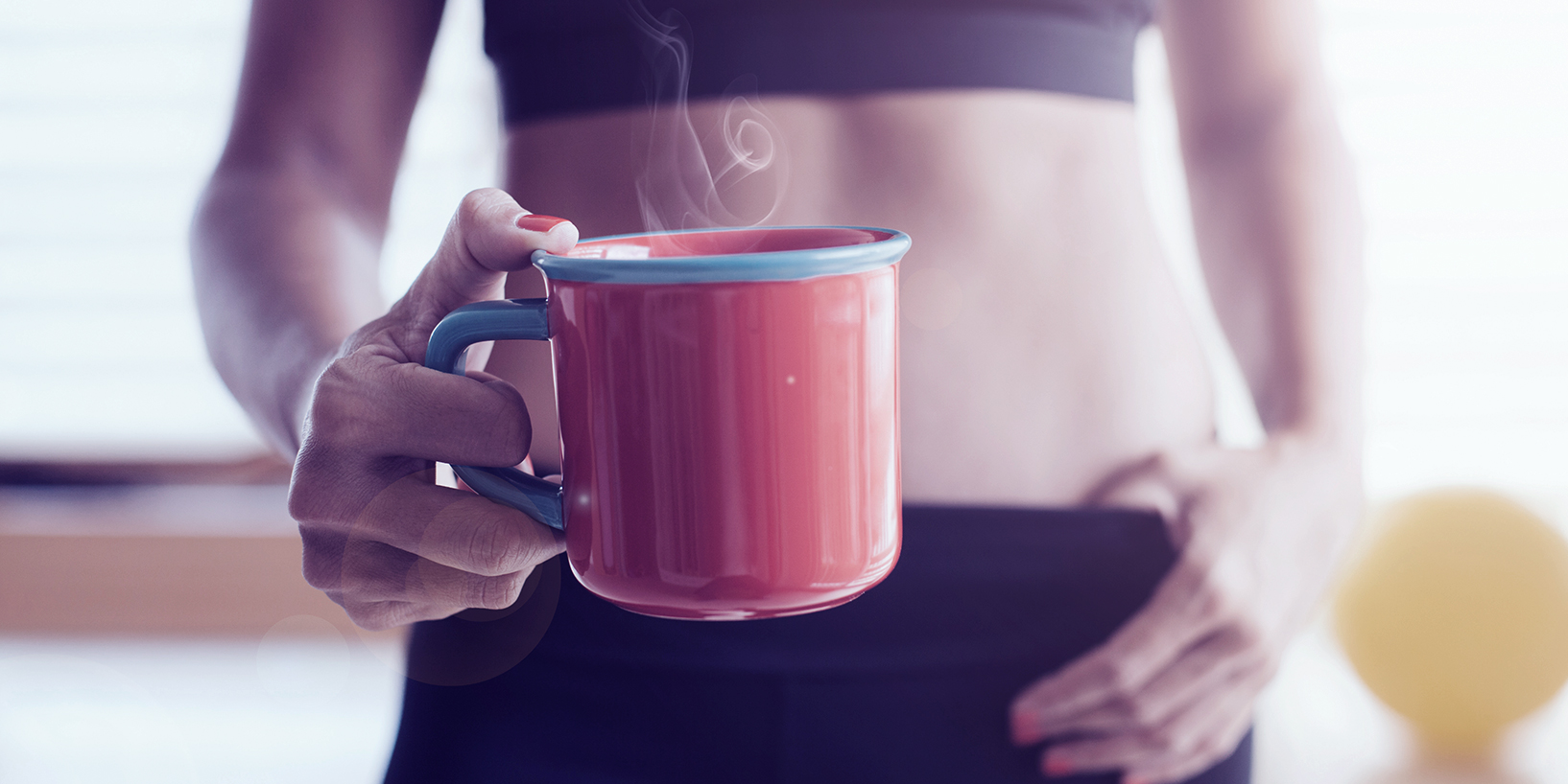 fit woman with coffee mug