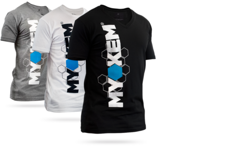 Myokem t-shirts in various colors, V-necks and crew necks