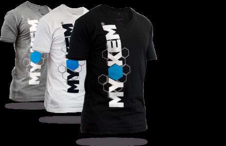 Myokem t-shirts in various colors, V-necks and crew necks